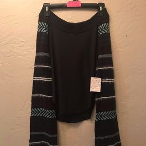 NWT Free People S washed black sweater